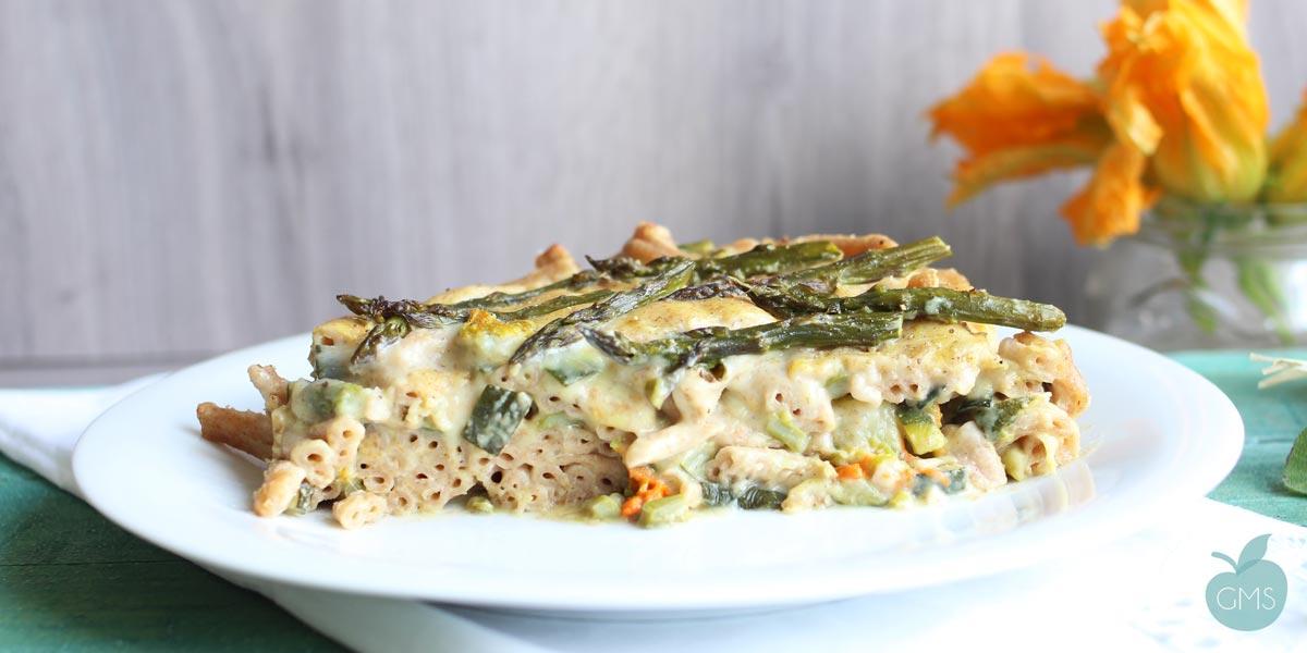 Pasta al forno con asparagi e zucchine