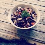 #iomangiosano | Riso venere con frutta e verdure