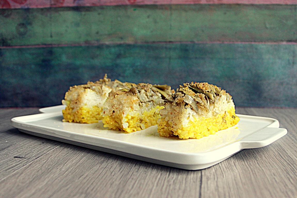 Timballo di riso alla curcuma e carciofi