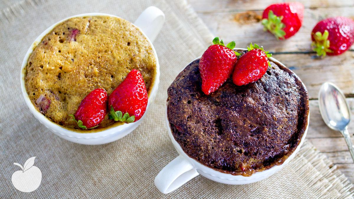 Mug cake cioccolato e fragole
