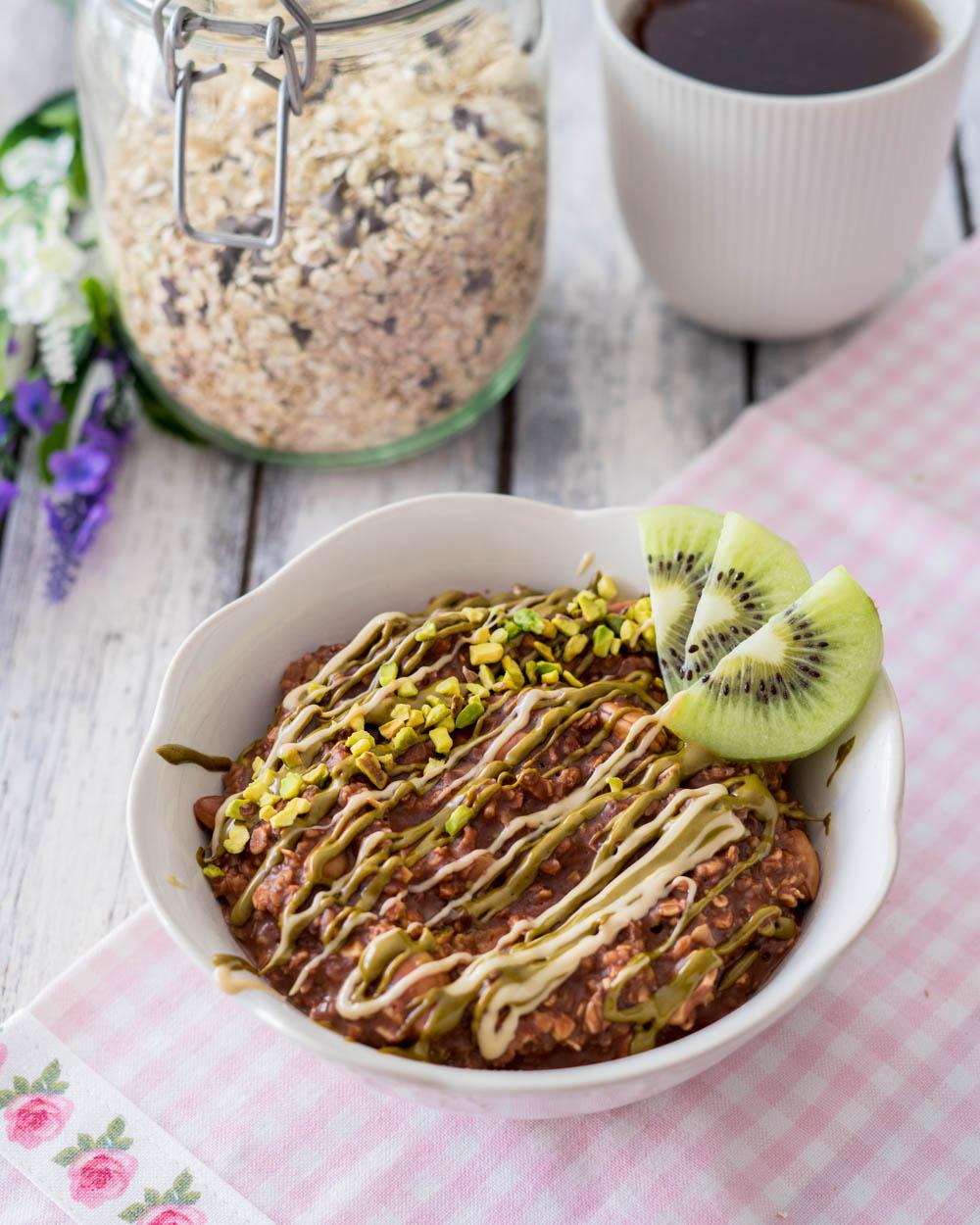 Porridge cioccolato e pistacchio
