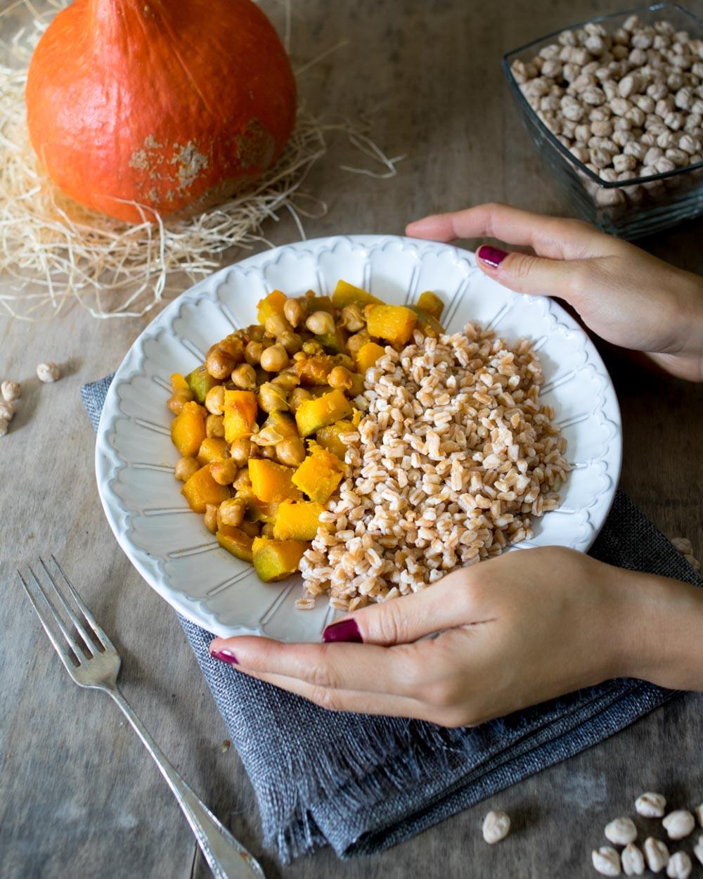 Cereali con zucca e ceci